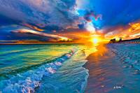 Beach Landscape-Blue Sea Waves-Yellow Sunset Burst