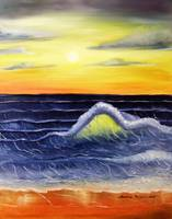 Seascape Waves Sunset