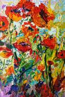 Expressive Red Poppy Oil Painting Floral