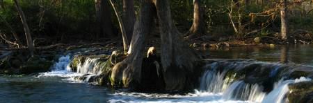 Waterfall on Cypress Creek Panorama, Wimberley, TX