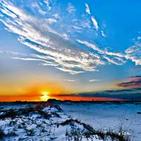 Red Sun White Cloud Blue Sand Hills Landscape Art