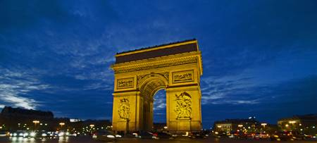 Arc de Triomphe Paris Night Clouds