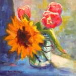"""Sunflower and Tulips"" by KimStenbergFineArt"