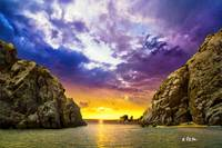 Sea Passage Rocky Cliffs Sunset fantasy Art Prints