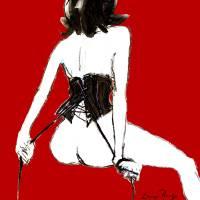 Luma Rouge black corset/pull strings Art Prints & Posters by Luma Rouge