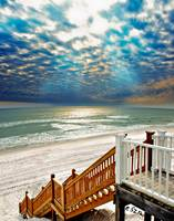 Beach Staircase Blue Sun Rays Glistening Sea Art