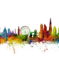 London England Skyline Art Prints & Posters by Michael Tompsett