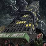 """Monster Octopus attacking building in storm"" by martindavey"
