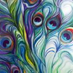 """PEACOCK ABSTRACT"" by MBaldwinFineArt2006"