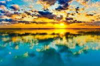 Sunset Lake Reflection Blue Yellow Skyscape Art