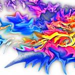 """Abstract Fluid Blue Flame-Rainbow Digital Painting"" by eszra"