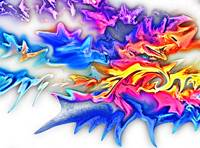 Abstract Fluid Blue Flame-Rainbow Digital Painting