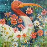 """Garden Stork Walk"" by BlendaStudio"