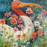 """Garden Stork Walk"" by BlendaStudio"