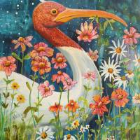 Garden Stork Walk Art Prints & Posters by Blenda Tyvoll