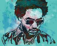 lenny kravitz - Stylised Etching Pop Art Poster