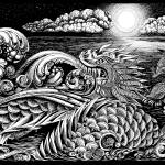 """""""Sea Monster Dragon - pen and ink drawing"""" by savanna"""