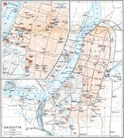 Vintage Map of Calcutta India (1914)