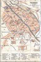 Vintage Map of Tournai Belgium (1905)