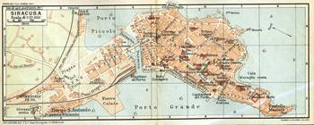 Vintage Map of Syracuse Italy (1905)