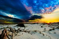 Storm Clouds Approaching Sunset-Blue Landscape Art