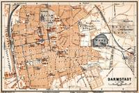 Vintage Map of Darmstadt Germany (1905)