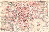 Vintage Map of Wurzburg Germany (1905)