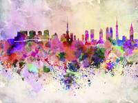 Tokyo skyline in watercolor background