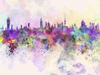 Kuwait City in watercolor background