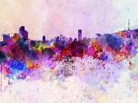 Seoul skyline in watercolor background