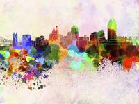 Cincinnati skyline in watercolor background