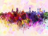Manama skyline in watercolor background