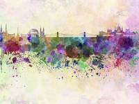 Budapest skyline in watercolor background