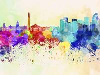 Buenos Aires skyline in watercolor background