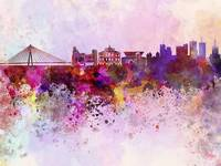 Warsaw skyline in watercolor background