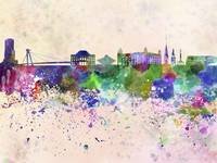 Bratislava skyline in watercolor background