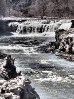 Lower Taughannock Falls in Spring Thaw (Black & Wh