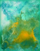 Teal Fluid Abstract Painting