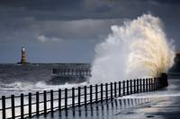 Waves Crashing, Sunderland, Tyne And Wear, England