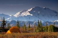 Scenic view of Mt. McKinley in the morning with te