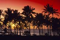 Hawaii, Big Island, Kohala Coast, Red Sunset, Oran