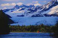 Alaska, Inside Passage, Orange Tent Along Mendenha