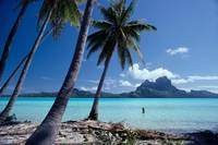 French Polynesia, Tahitian Coast Scene, Lovely Wom