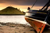 Boat On Beach At Low Tide Alnmouth, Northumberlan