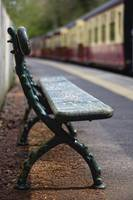 Bench On Train Platform Yorkshire, England