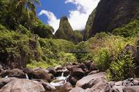 Hawaii, Maui, View Of Iao Needle With Stream, Blue