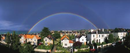 Rainbow Over Housing in Monkstown, County Dublin,