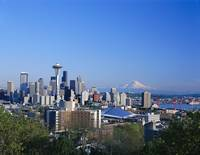 Washington, Seattle Skyline With Space Needle And