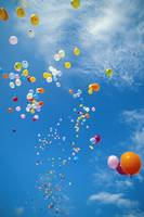 Hawaii, Colorful Balloons Float In The Air Against