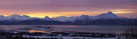 Homer Spit At Sunrise With Kenai Mountains, Kenai